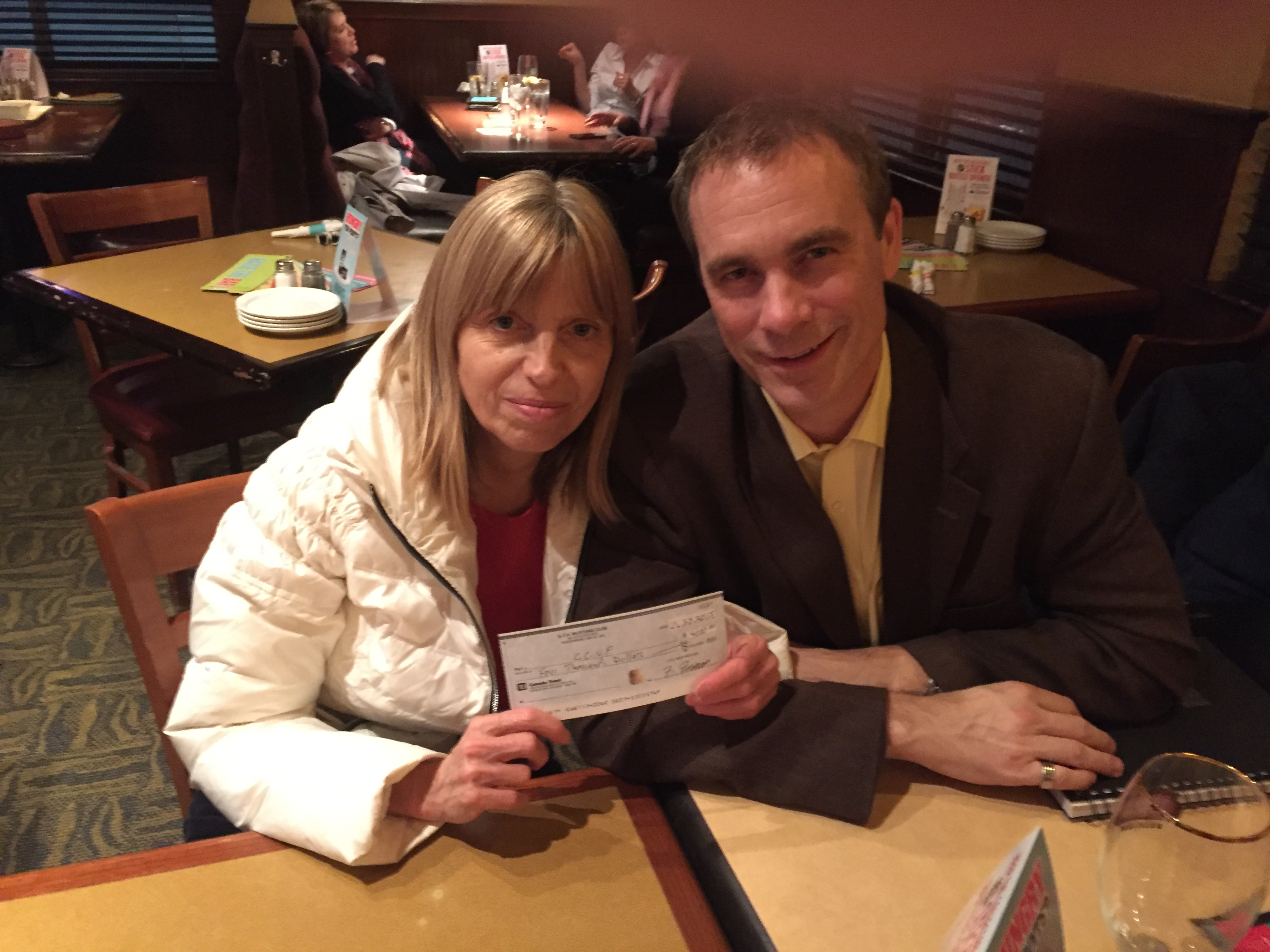 GTAMC cheque presentation to Lozanne Wamback by Scott Winger GTAMC